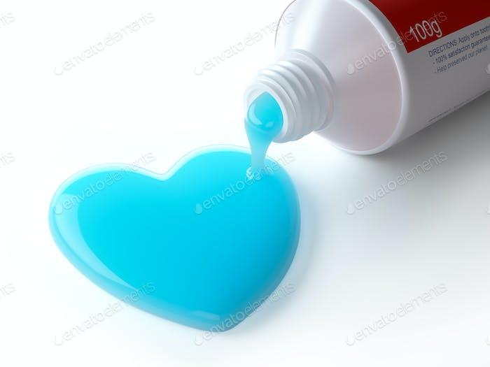 Zahnpasta in Form von Herzen aus Zahnpasta Rohr