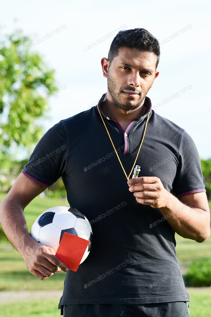 Mixed Race Soccer Referee