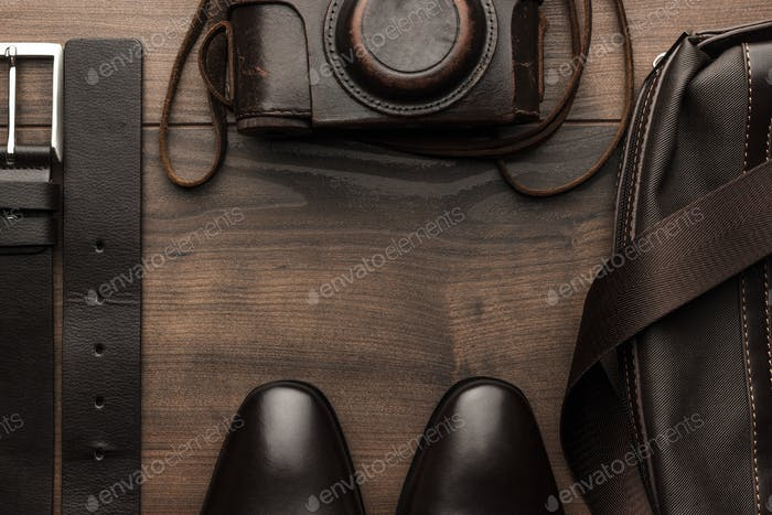 Brown Shoes Belt Bag And Film Camera With Copy Space