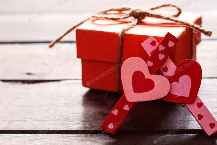 heart and box on wooden