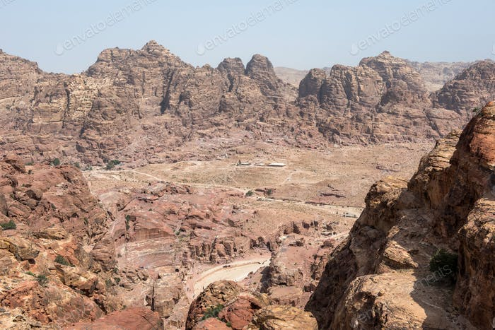 View of ancient, abandoned rock city of Petra, Unesco heritage, Jordan