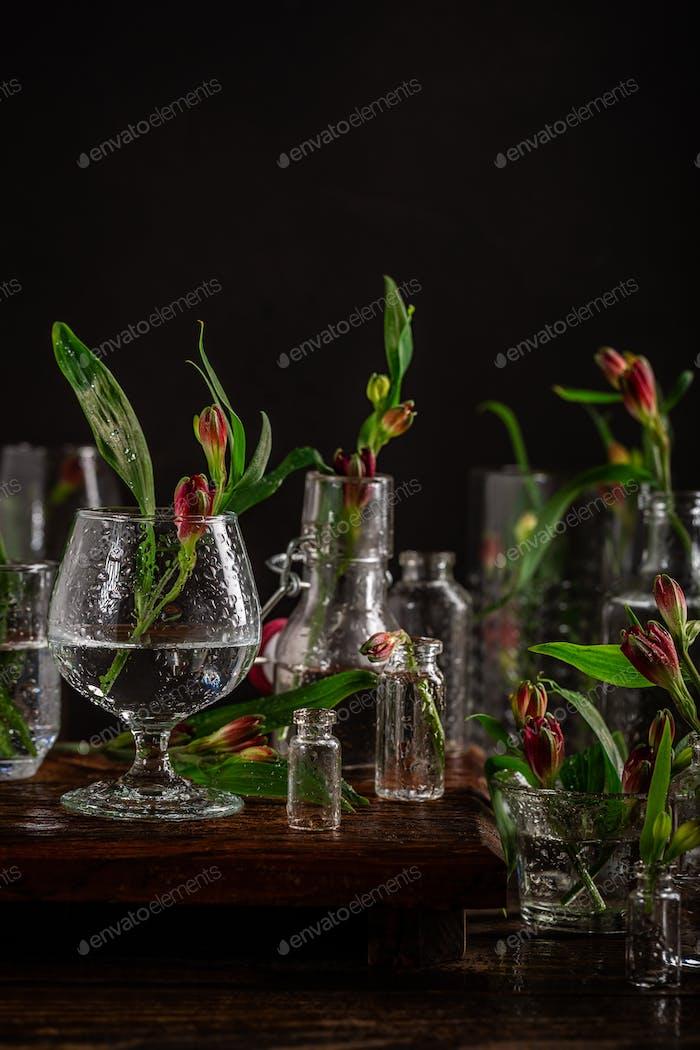 Rote Blumen in Glasvasen