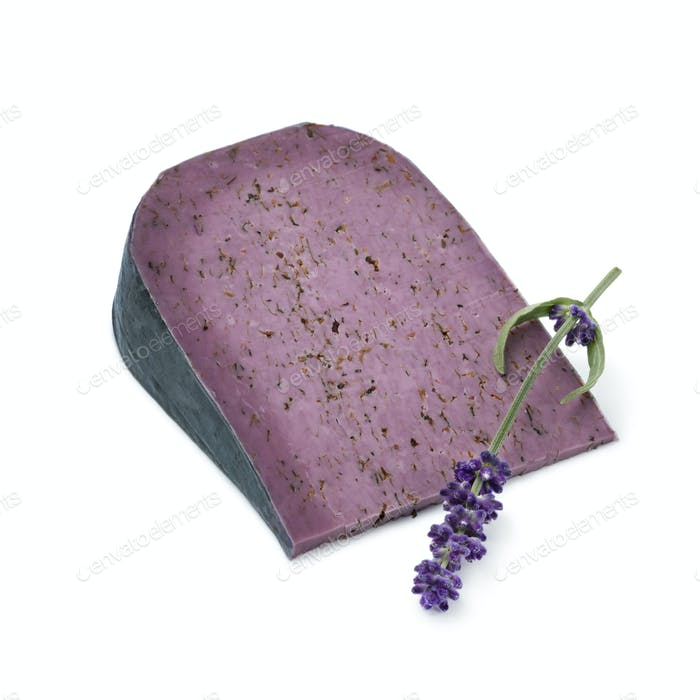 Piece of lilac lavender cheese