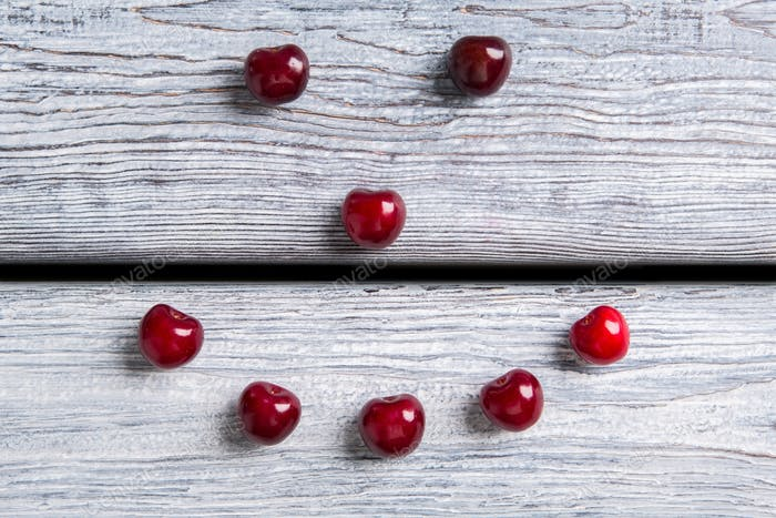 Smiley made of cherries