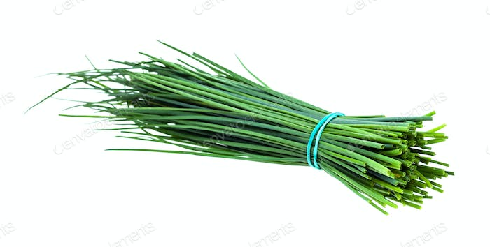 bundle of fresh leaves of Chives isolated on white