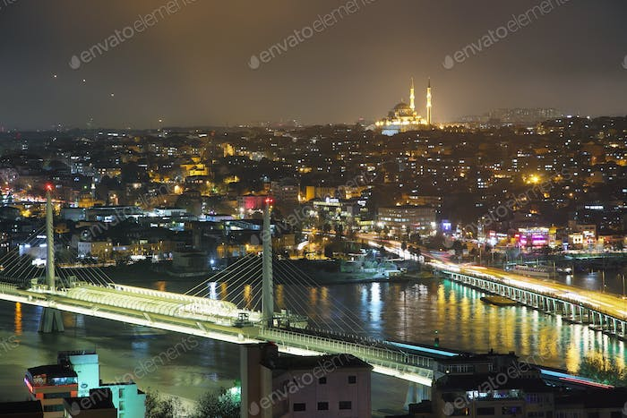 Galata Bridge at night from Galata Tower