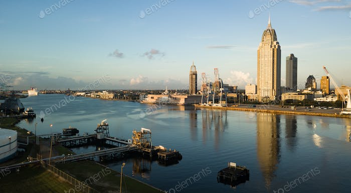 Waterfront Port Mobile River Riverfront Alabama State USA