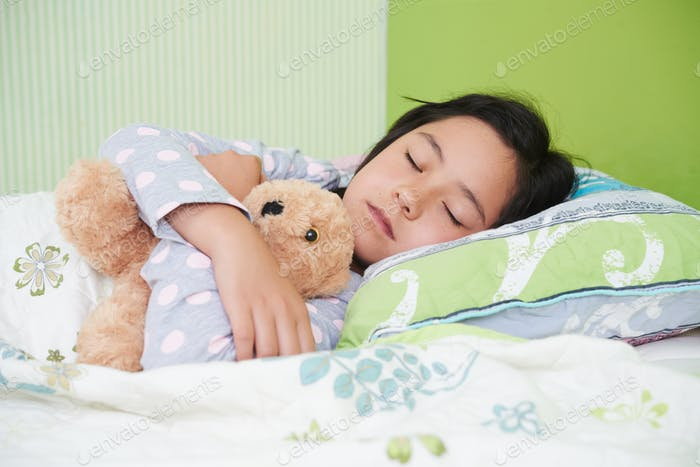 Sleeping with toy