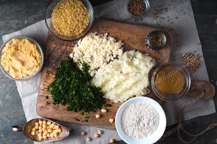Ingredients for Falafel, bulgur, cilantro, onion, garlic and spices