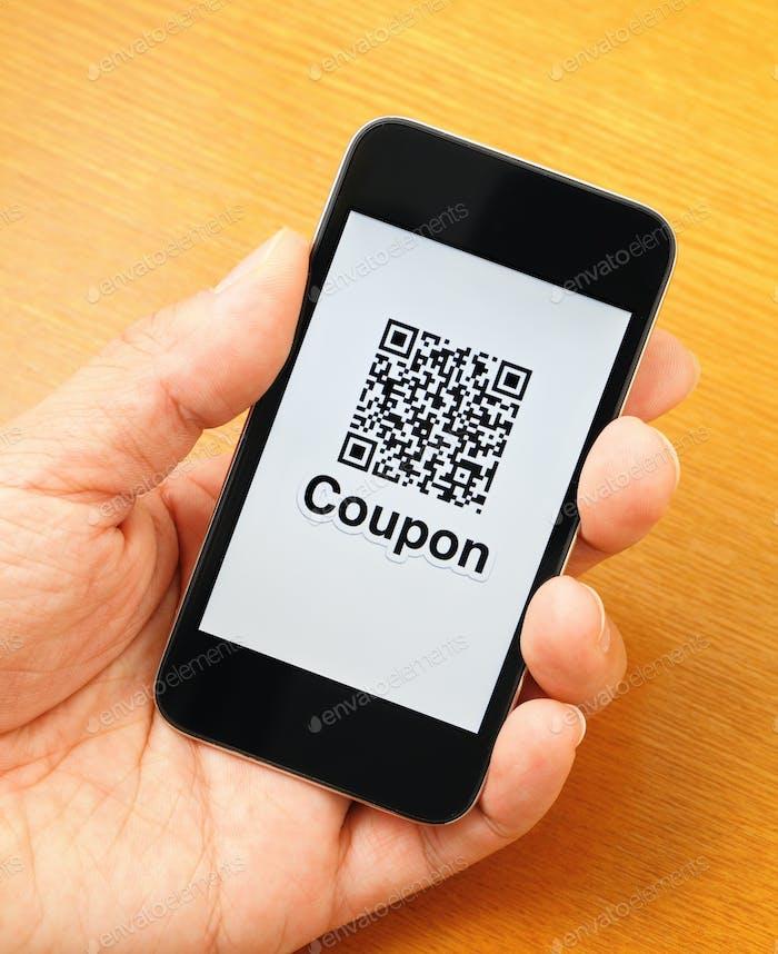QR code on mobile display