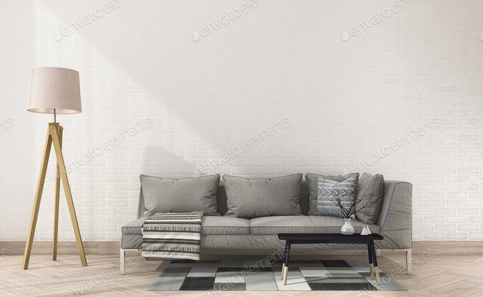 3d rendering vintage fabric sofa with cloth near white brick wall and lamp