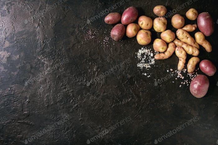Variety of raw potatoes