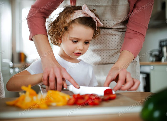 A portrait of small girl with mother at home, preparing vegetable salad.