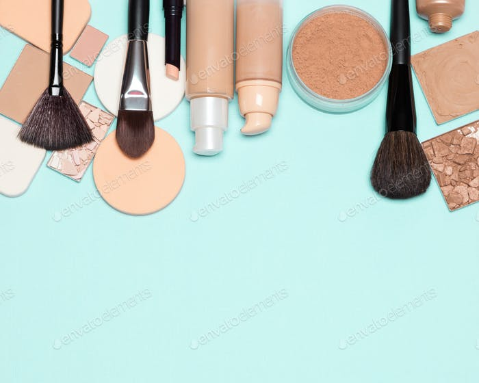Foundation makeup products background with copy space
