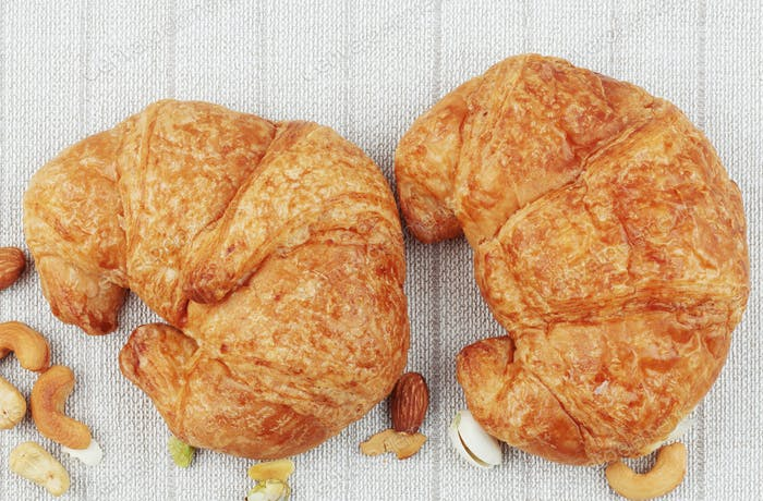 croissants on tablecloth