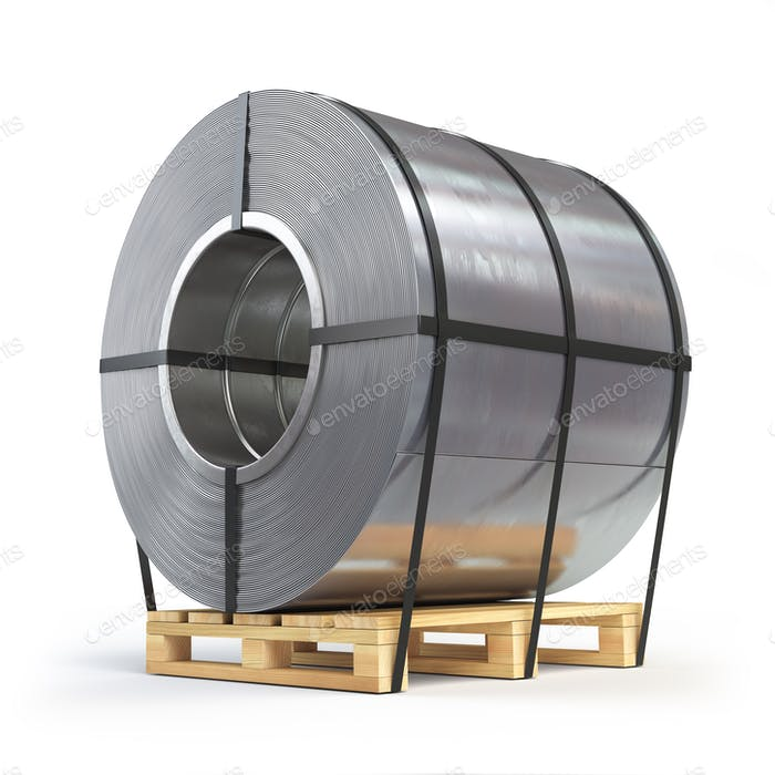 Steel sheet rolled, metal roll on a pallet. Production, delivery