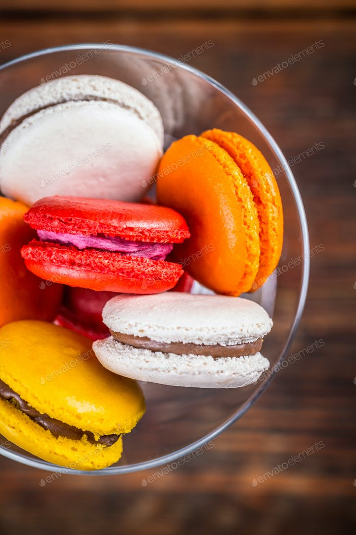 Fresh colorful macarons