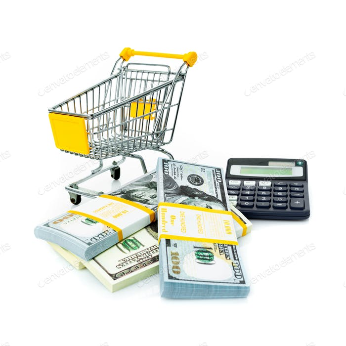 calculator and money. Cash and calculator. Purchase Cost Calculation. Shopping consept