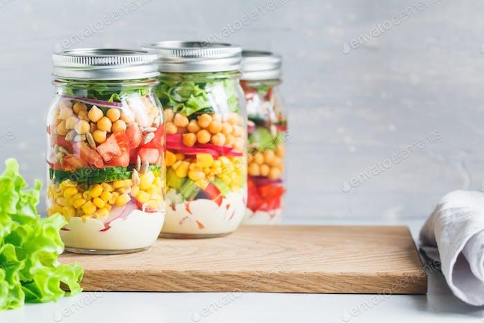 jars with salad