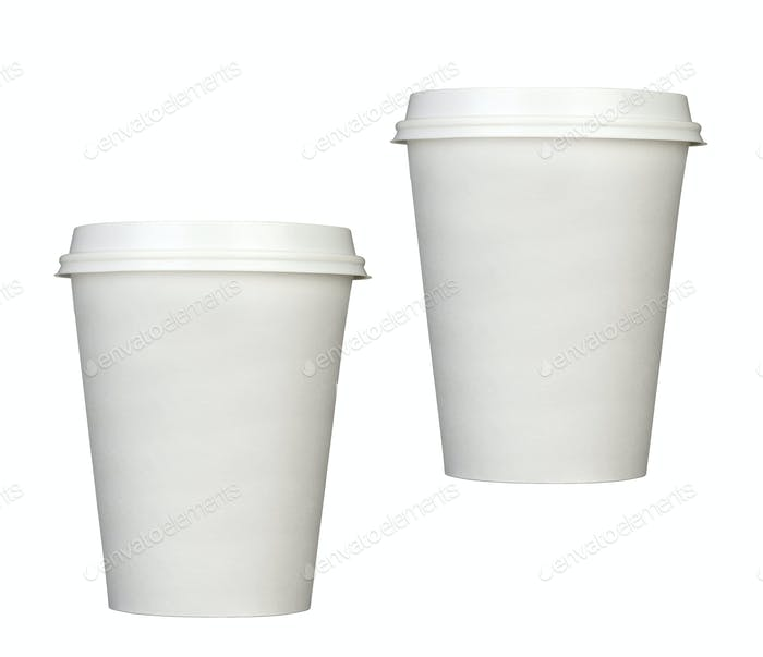 Paper coffee cups isolated
