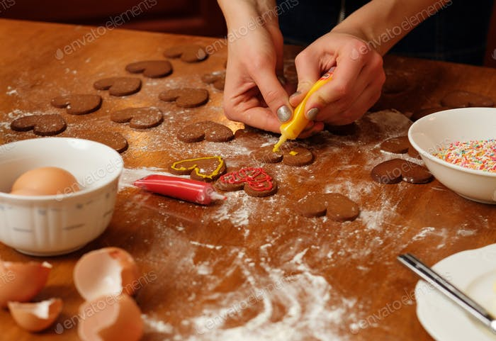 Making Christmas ginger bread cookies