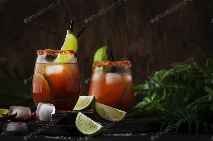 Michelada - Mexican alcoholic cocktail with beer