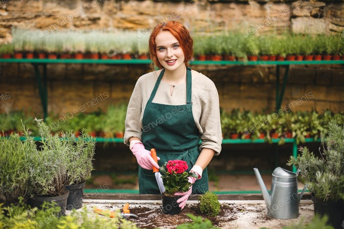 Smiling lady in apron and pink gloves using little garden shovel while planting a flower in pot