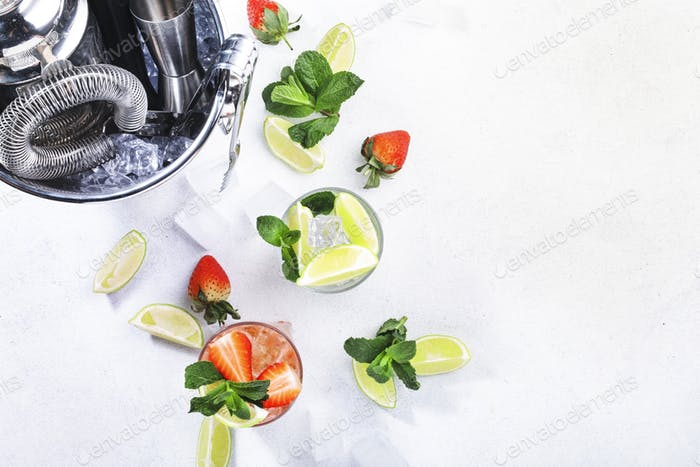 Fresh Mojito cocktail set with lime, mint, strawberry and ice