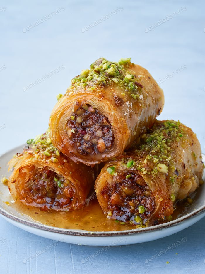 Baklava, close up, Middle eastern arab sweet pastry.