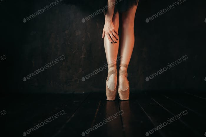 Ballet dancer legs in pointes, black wooden floor