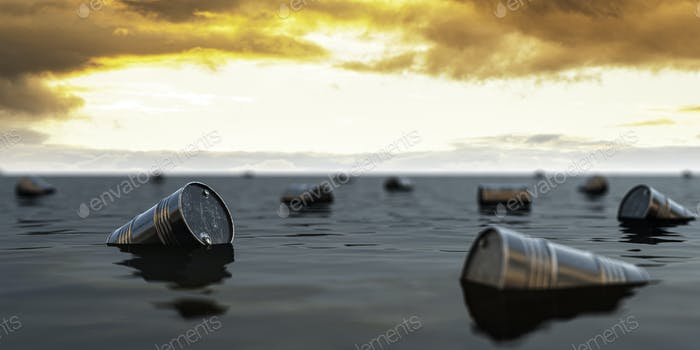 Oil barrels floating on the oil sea. Oil industry crisis concept.