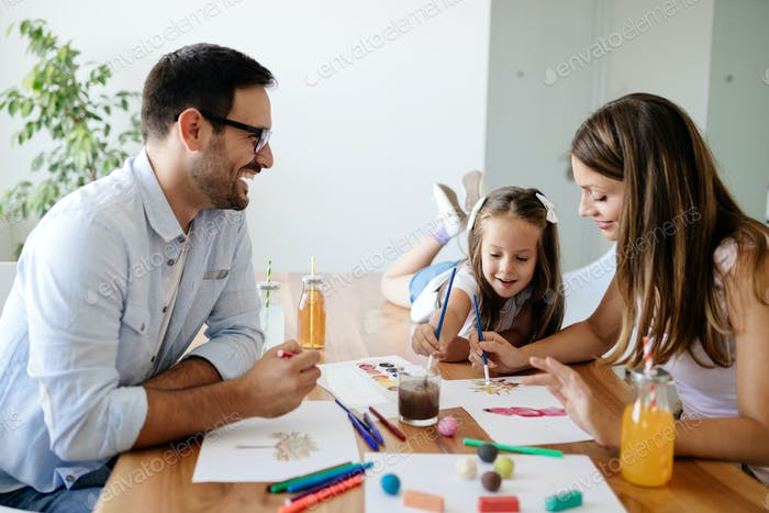 Happy familiy spending fun time at home