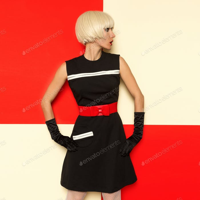 Lady Retro Style Art Cabaret vintage clothing. Minimal Fashion