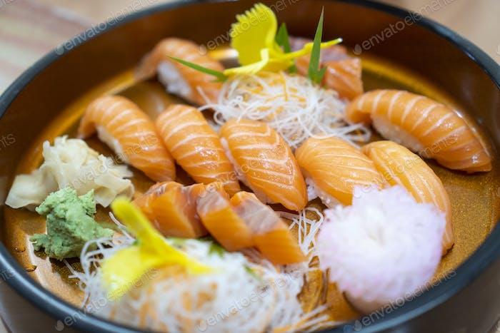 Sashimi salmon set, raw fish, japanese food.(Selective focus)