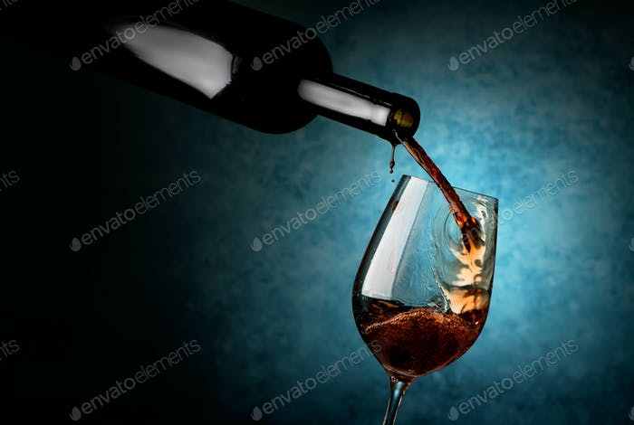 Wineglass on a blue background