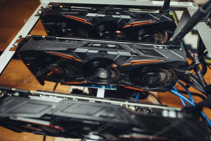Graphics cards mining rig used for mining online crypto currencies