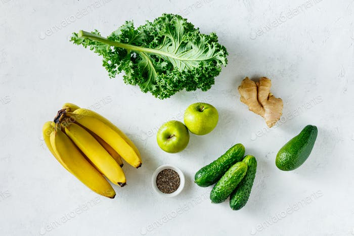 Fresh fruits and vegetables on a white background, Vegetarian and Healthy food