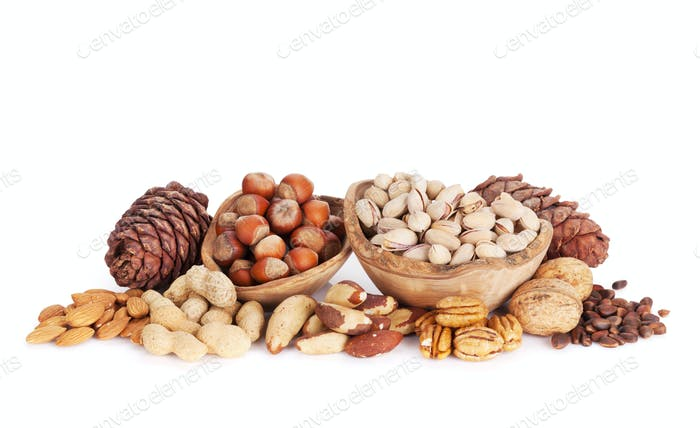 Various nuts. Isolated