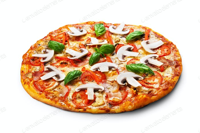 Pizza with mushrooms and bacon