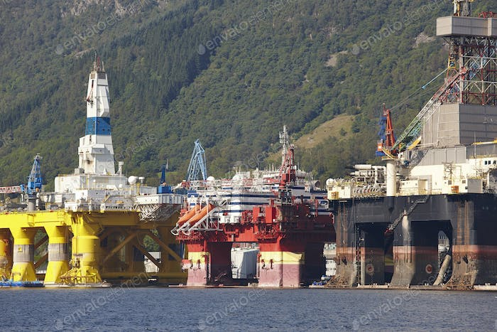 Oil and gas platform in Norway. Energy industry. Petroleum exploration