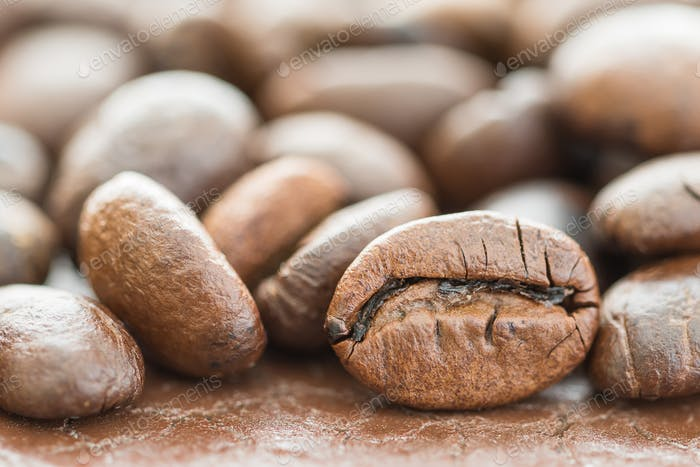 Heap of roasted brown coffee bean