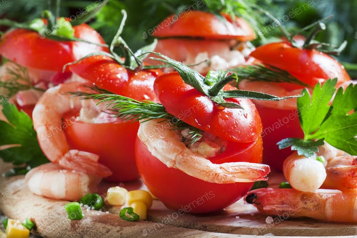 Tomatoes stuffed with shrimp meat and corn