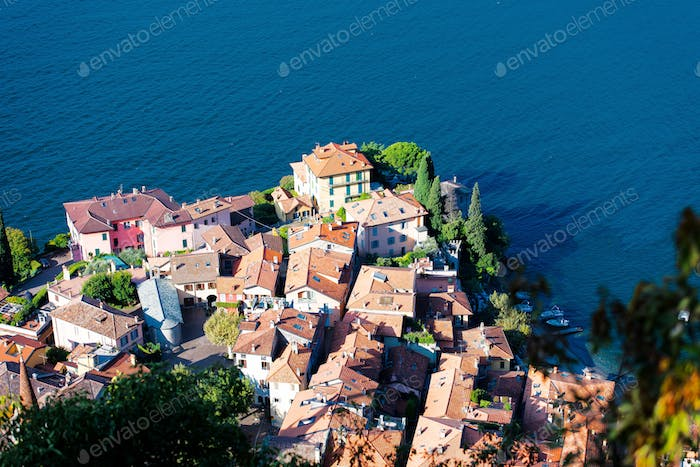 Glimpse of Varenna on Lake Como Lecco in Italy