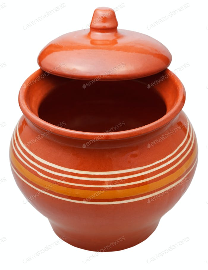 ceramic pot with half open lid