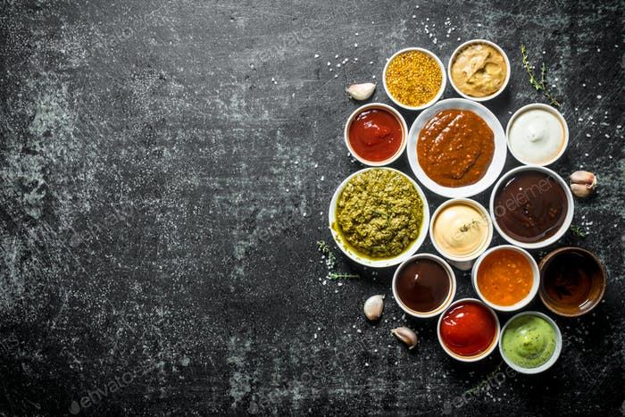 Different variations of sauces.