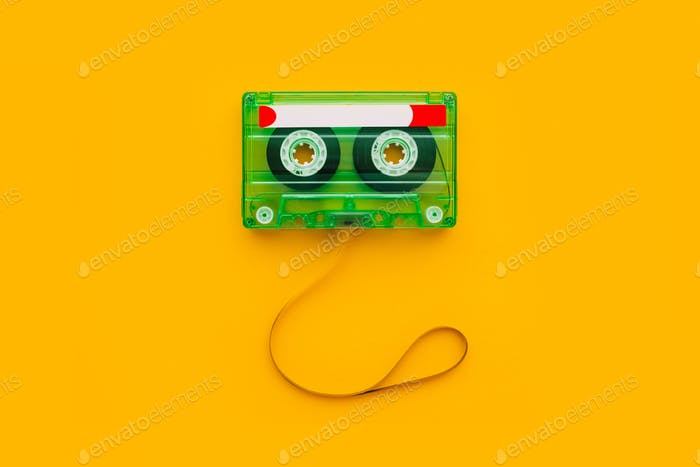 Top view of audio cassette with tangled tape