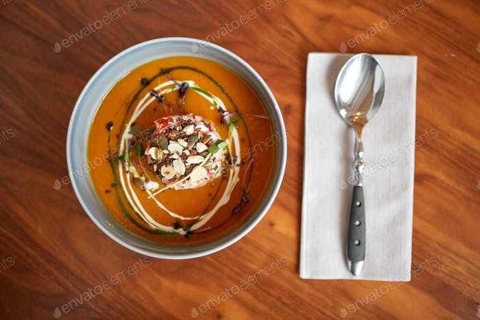 vegetable pumpkin-ginger soup in bowl