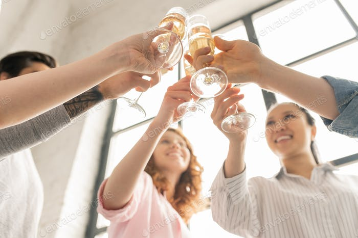Cheers with champagne