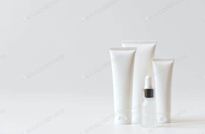 Cosmetics packaging .Plastic cosmetic of cream.Natural beauty spa product concept.Mock-up.