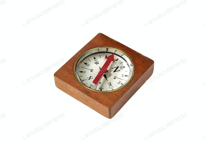Detailed wooden compass